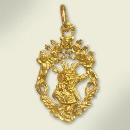 Medalla en oro con el rostro del Señor del Gran Poder. 15x23 mm.
