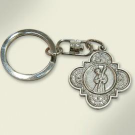 Llavero en metal plateado de la medalla de Hermandad. 3,2x8,5 cm.