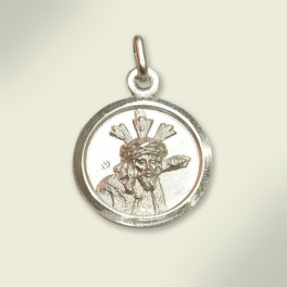Medalla en plata con el rostro de Jesús del Gran Poder. 17 mm.