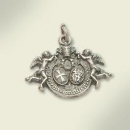 Medalla en metal plateado escudo de la Hermandad. 24x20mm.